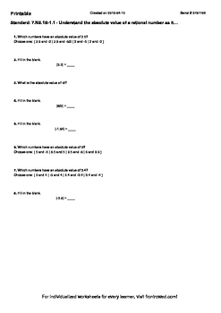 Worksheet for 7.NS.1B-1.1 - Understand the absolute value of a rational number