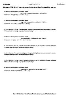 Worksheet for 7.NS.1B-3.0 - Interpret sums of rational num