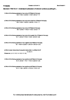 Worksheet for 7.NS.1C-3.1 - Understand subtraction of rational numbers as adding