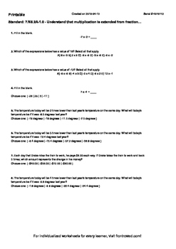 Worksheet for 7.NS.2A-1.0 - Understand that multiplication