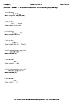 Worksheet for 7.NS.2A-1.2 - Students must know the Associative Property of Multi