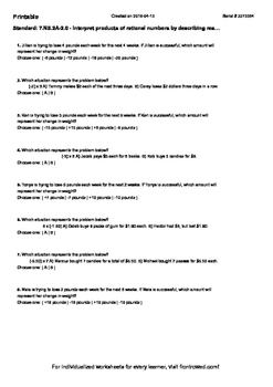 Worksheet for 7.NS.2A-2.0 - Interpret products of rational numbers by describing