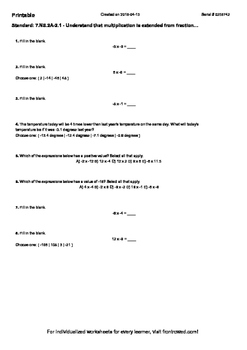Worksheet for 7.NS.2A-2.1 - Understand that multiplication is extended from frac