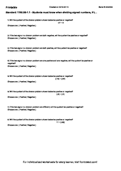 Worksheet for 7.NS.2B-1.1 - Students must know when dividing signed numbers, if