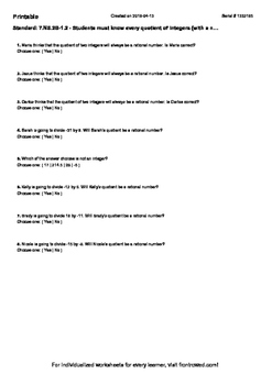 Worksheet for 7.NS.2B-1.2 - Students must know every quoti