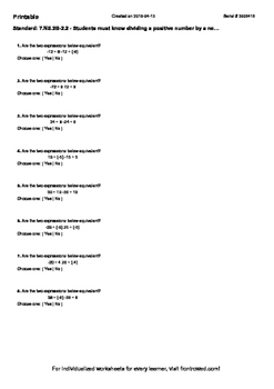 Worksheet for 7.NS.2B-2.2 - Students must know dividing a positive number by a