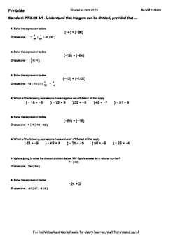 Worksheet for 7.NS.2B-3.1 - Understand that integers can be divided, provided th