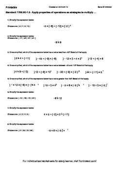 Worksheet for 7.NS.2C-1.0 - Apply properties of operations as strategies to mult