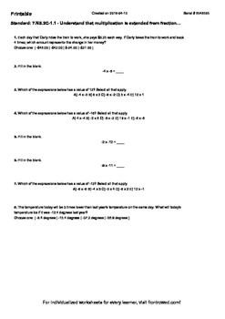 Worksheet for 7.NS.2C-1.1 - Understand that multiplication is extended from frac