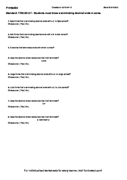 Worksheet for 7.NS.2D-2.1 - Students must know a terminati