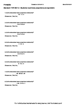 Worksheet for 7.RP.2B-1.3 - Students must know proportions