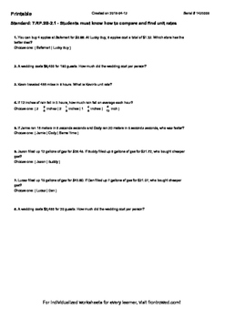 Worksheet for 7.RP.2B-2.1 - Students must know how to compare and find unit rat
