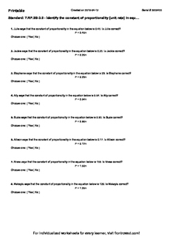 Worksheet for 7.RP.2B-3.0 - Identify the constant of proportionality (unit rate)