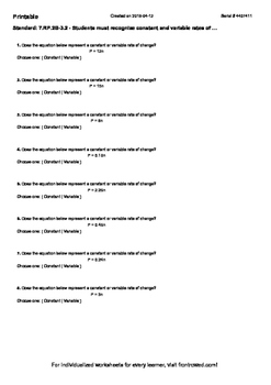Worksheet for 7.RP.2B-3.2 - Students must recognize consta
