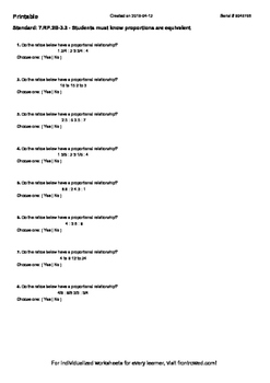 Worksheet for 7.RP.2B-3.3 - Students must know proportions