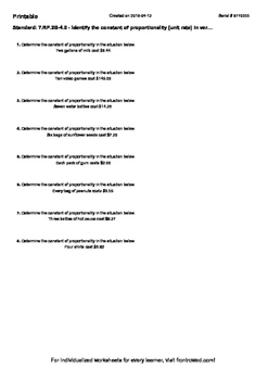 Worksheet for 7.RP.2B-4.0 - Identify the constant of proportionality (unit rate)