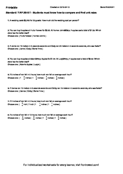 Worksheet for 7.RP.2B-5.1 - Students must know how to compare and find unit rat
