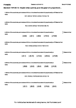 Worksheet for 7.RP.2C-1.0 - Explain what a point (x, y) on