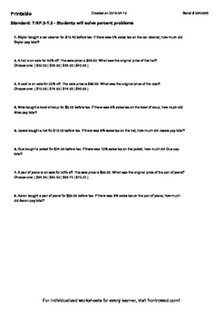 Worksheet for 7.RP.3-1.3 - Students will solve percent problems