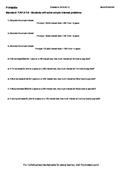 Worksheet for 7.RP.3-1.5 - Students will solve simple interest problems