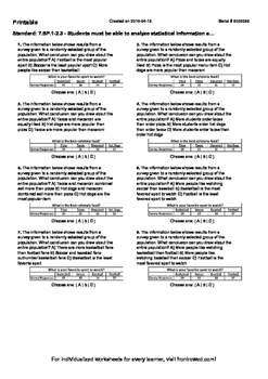 Worksheet for 7.SP.1-2.3 - Students must be able to analyze statistical informat