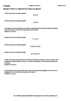 Worksheet for 7.SP.4-1.2 - Determine the median of a data set