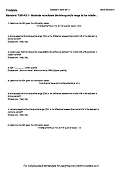 Worksheet for 7.SP.4-2.1 - Students must know the interqua