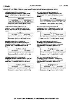 Worksheet for 7.SP.4-2.2 - Use the mean absolute deviation interquartile range t