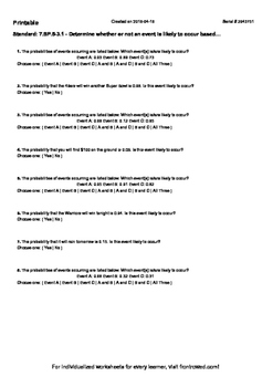 Worksheet for 7.SP.5-3.1 - Determine whether or not an event is likely to occur