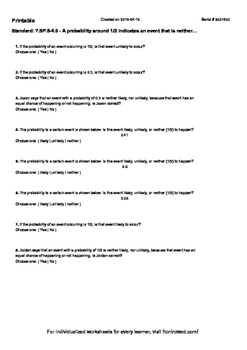 Worksheet for 7.SP.5-4.0 - A probability around 1 2 indicates an event that is n