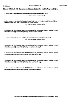 Worksheet for 7.SP.7A-1.3 - Students must be able to devel