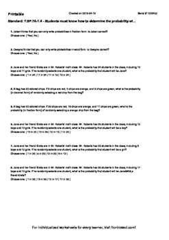 Worksheet for 7.SP.7A-1.4 - Students must know how to dete