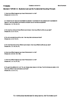 Worksheet for 7.SP.8A-1.3 - Students must use the Fundamental ...