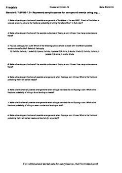 Worksheet for 7.SP.8B-1.0 - Represent sample spaces for co