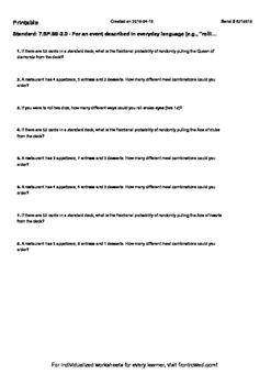 Worksheet for 7.SP.8B-2.0 - For an event described in everyday language (e.g., ""