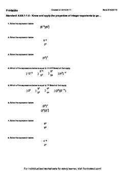 Worksheet for 8.EE.1-1.0 - Know and apply the properties of integer exponents to