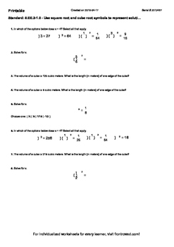 Worksheet for 8.EE.2-1.0 - Use square root and cube root s