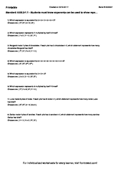 Worksheet for 8.EE.2-1.1 - Students must know exponents ca