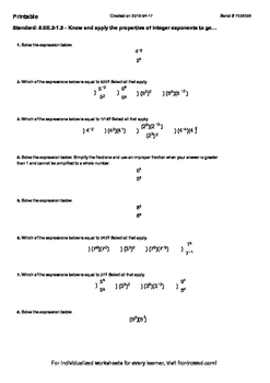 Worksheet for 8.EE.2-1.2 - Know and apply the properties of integer exponents to
