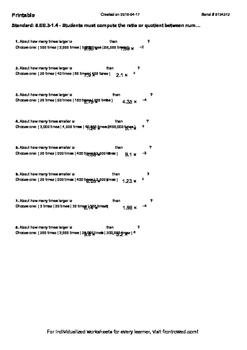 Worksheet for 8.EE.3-1.4 - Students must compute the ratio or quotient between n