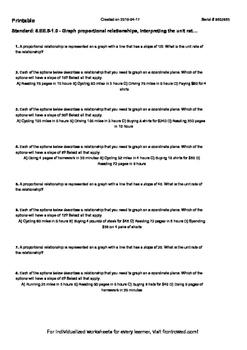Worksheet for 8.EE.5-1.0 - Graph proportional relationships, interpreting the un