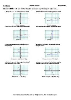 Worksheet for 8.EE.6-1.0 - Use similar triangles to explain why the slope m is t