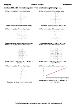 Worksheet for 8.EE.6-2.0 - Derive the equation y = mx for a line through the ori