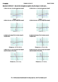 Worksheet for 8.EE.6-2.1 - Use similar triangles to explain why the slope m is t