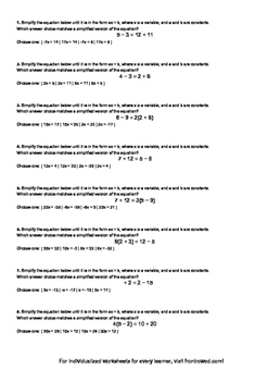 Worksheet for 8.EE.7A-1.1 - Students must know strategies to convert complex li