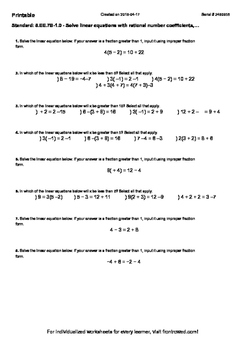 Worksheet for 8.EE.7B-1.0 - Solve linear equations with rational number coeffici