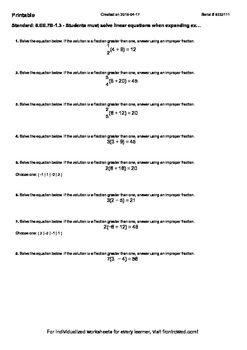Worksheet for 8.EE.7B-1.3 - Students must solve linear equations when expanding