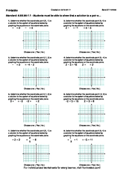Worksheet for 8.EE.8A-1.1 - Students must be able to show that a solution to a p