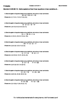 Worksheet for 8.EE.8B-1.0 - Solve systems of two linear equations in two variabl