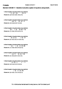 Worksheet for 8.EE.8B-1.1 - Students must solve a system of equations using subs